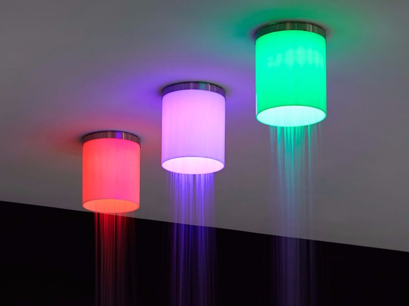 LED ceiling mounted stainless steel overhead shower IRIDE by Antonio Lupi Design