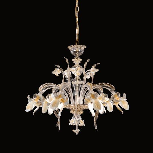 Classic style handmade glass chandelier IRIS | Blown glass chandelier by MULTIFORME