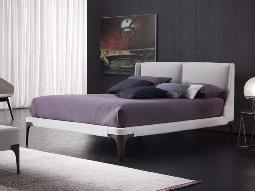 Fabric bed with removable cover with upholstered headboard ISCHIA by Chaarme