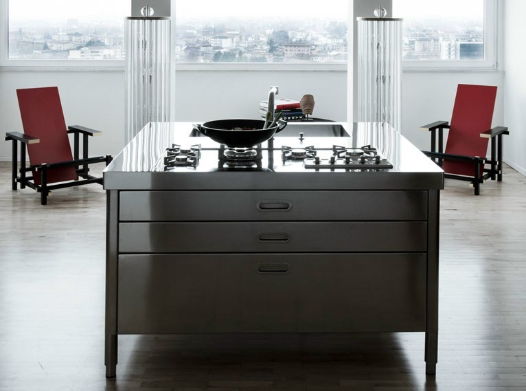 Stainless steel kitchen unit ISOLA CUCINA 130 (1) - ALPES-INOX