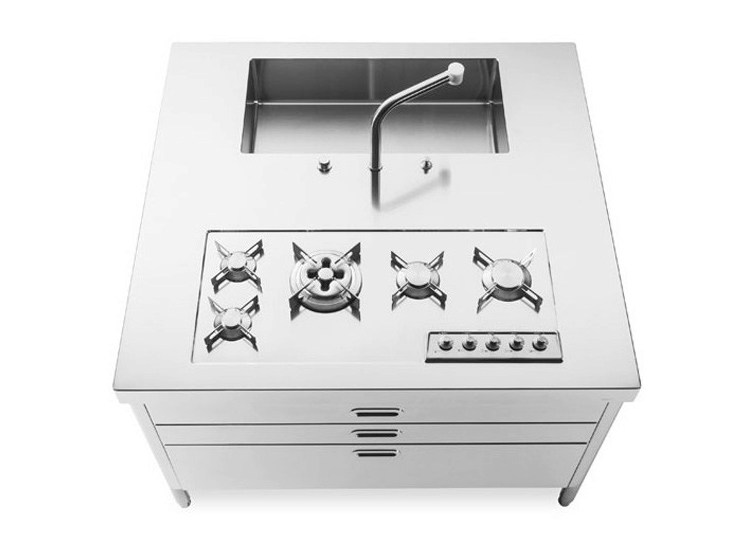 Stainless steel kitchen unit with single sink with hobs ISLAND UNIT 130 FUNCTIONALITY - ALPES-INOX