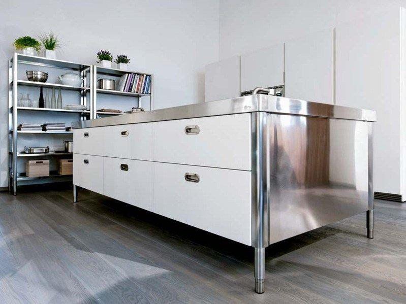 modulo cucina freestanding in acciaio inox isola cucina 280 alpes inox. Black Bedroom Furniture Sets. Home Design Ideas