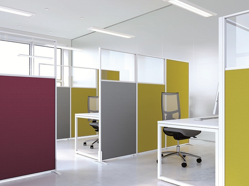 ISOLA sound proofing partitions  covered  with fabric and semi-glazed