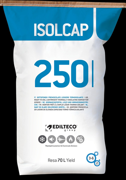 Pre-mix for thermal insulating screed ISOLCAP by EDILTECO