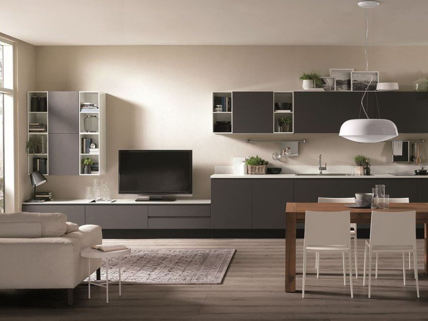 Sectional storage wall Integrated modular storage units by Scavolini