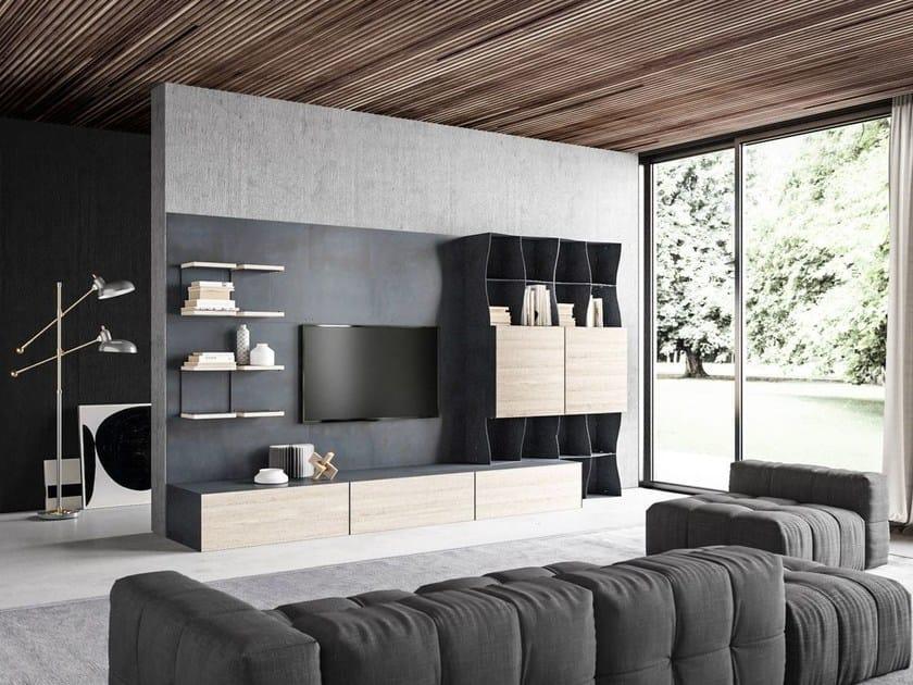 Parete attrezzata modulare in metallo iron ic shelter for Parete attrezzata design moderno