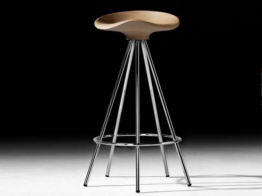 Trestle-based aluminium and wood stool with footrest JAMAICA | Trestle-based stool by BD Barcelona Design