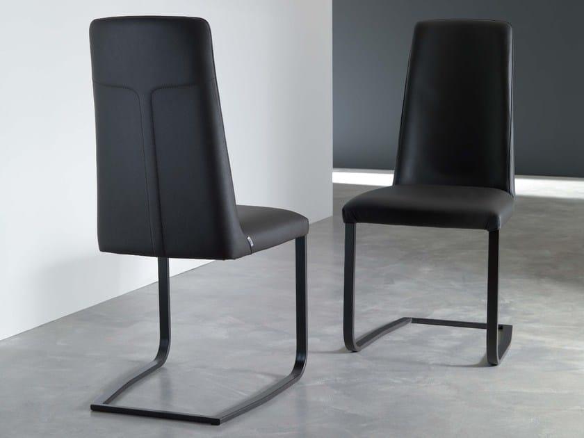 Sled base upholstered leather chair JAZZ - Ozzio Italia