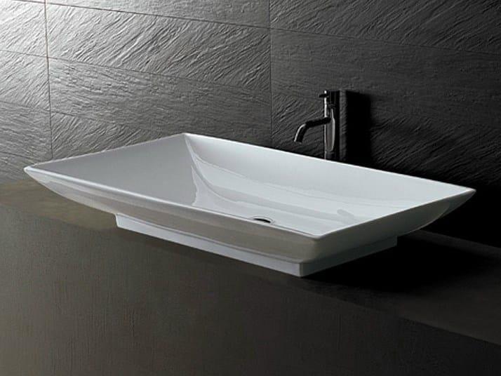 Countertop rectangular ceramic washbasin JOKER TRAY - Alice Ceramica