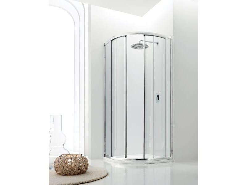 Semicircular glass shower cabin with sliding door JOLLY - 6 - INDA®