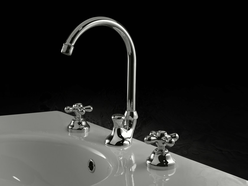 3 hole washbasin tap with automatic pop-up waste JULIA | 3 hole washbasin tap by Signorini