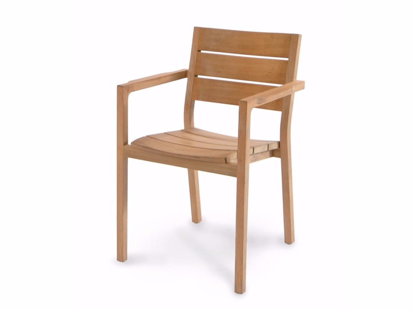 Stackable teak garden chair with armrests JUNE | Garden chair - FISCHER MÖBEL