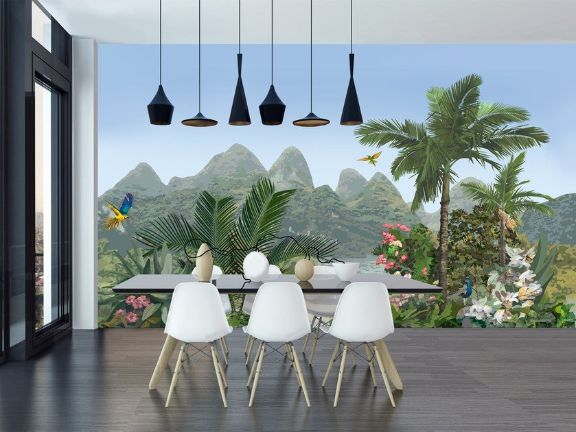 Adhesive panoramic landscape wallpaper JUNGLE by MYFRESKO