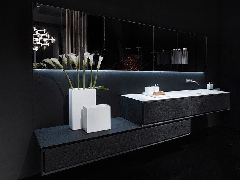 Mobile lavabo singolo in pietra lavica K.ONE | Mobile lavabo in pietra lavica - RIFRA