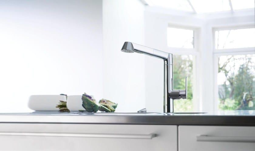 Miscelatore da cucina da piano monoforo con bocca girevole k7 miscelatore da cucina con - Miscelatore cucina con doccetta estraibile ...