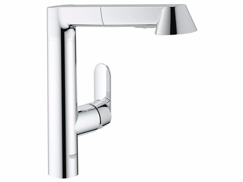 Countertop 1 hole kitchen mixer tap with swivel spout K7 | Kitchen mixer tap with pull out spray by Grohe