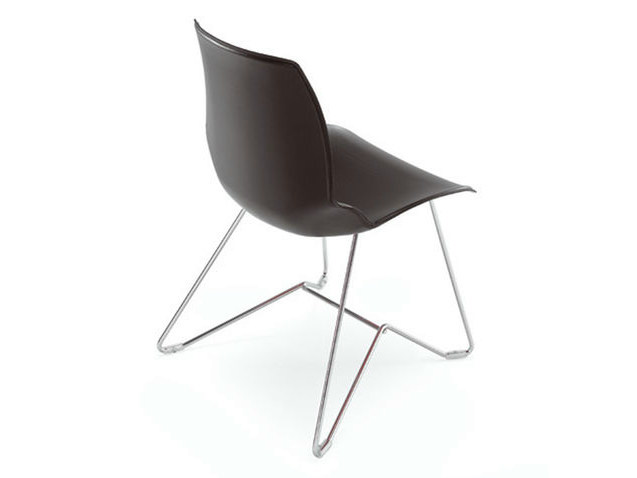 Sled base tanned leather chair KALEIDOS | Tanned leather chair - Caimi Brevetti