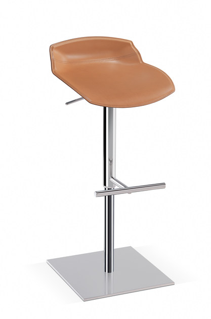 Tanned leather stool with footrest KALEIDOS | Tanned leather stool - Caimi Brevetti