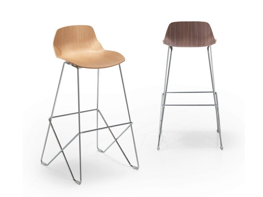 Wooden stool with footrest KALEIDOS | Wooden stool by Caimi Brevetti