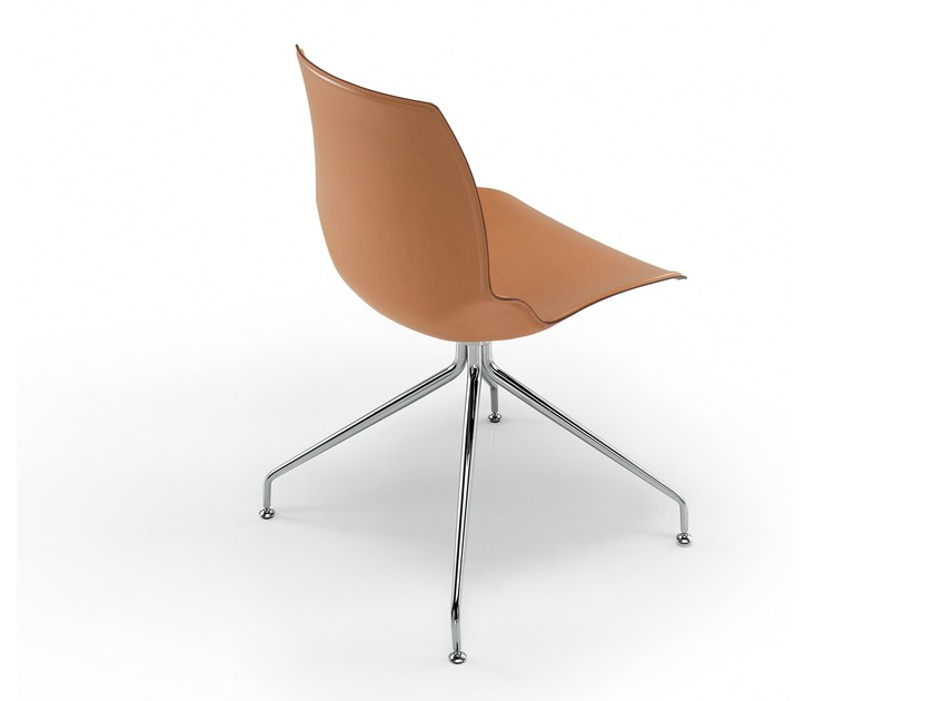 Trestle-based tanned leather chair KALEIDOS | Tanned leather chair - Caimi Brevetti