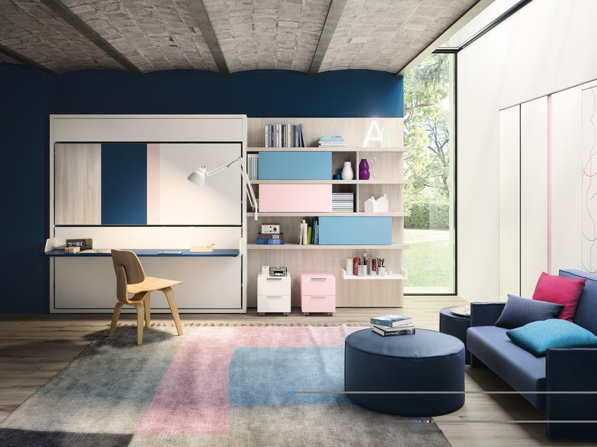 Storage wall with fold-away bed KALI DUO BOARD by CLEI