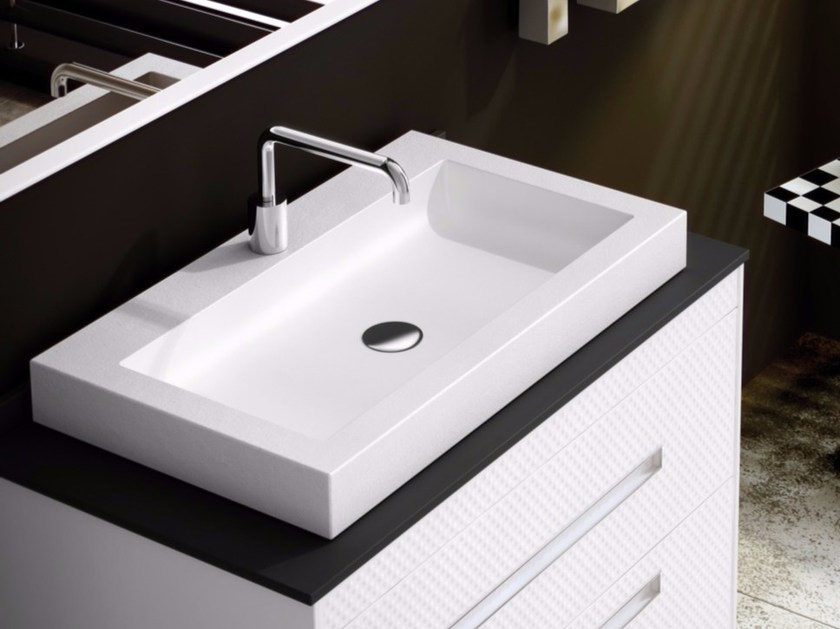 Countertop rectangular single Silexpol® washbasin KAPPA - Fiora
