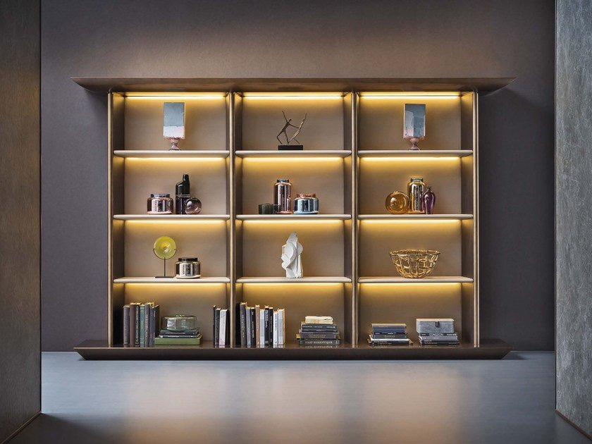 Bookcase with built-in lights KARA | Bookcase - Natevo