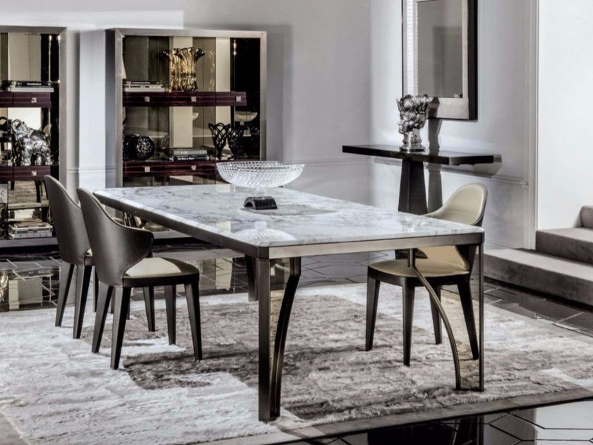 Rectangular marble dining table KARL | Marble table - Longhi