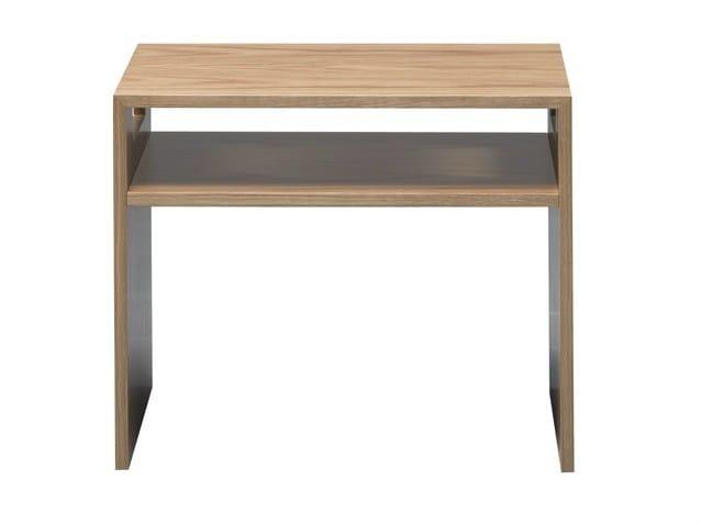 Lacquered rectangular wood veneer bedside table KASPE - AZEA