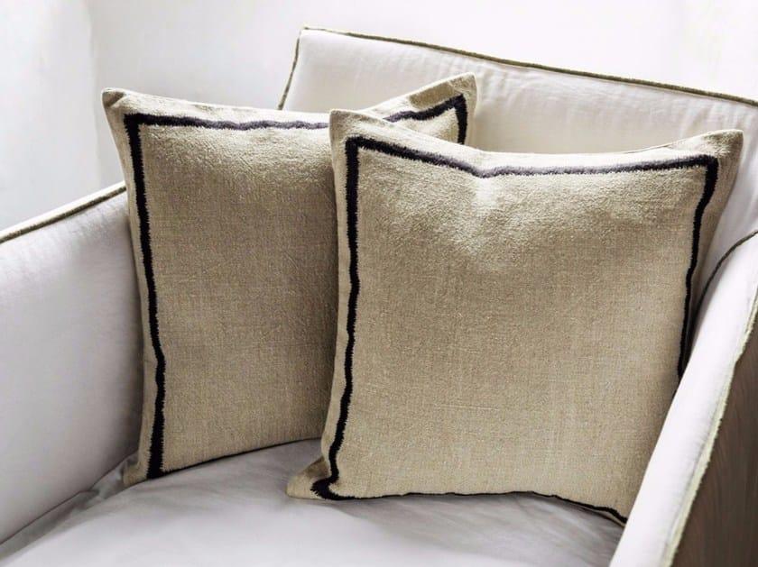 Square embroidered linen cushion KEA - Élitis