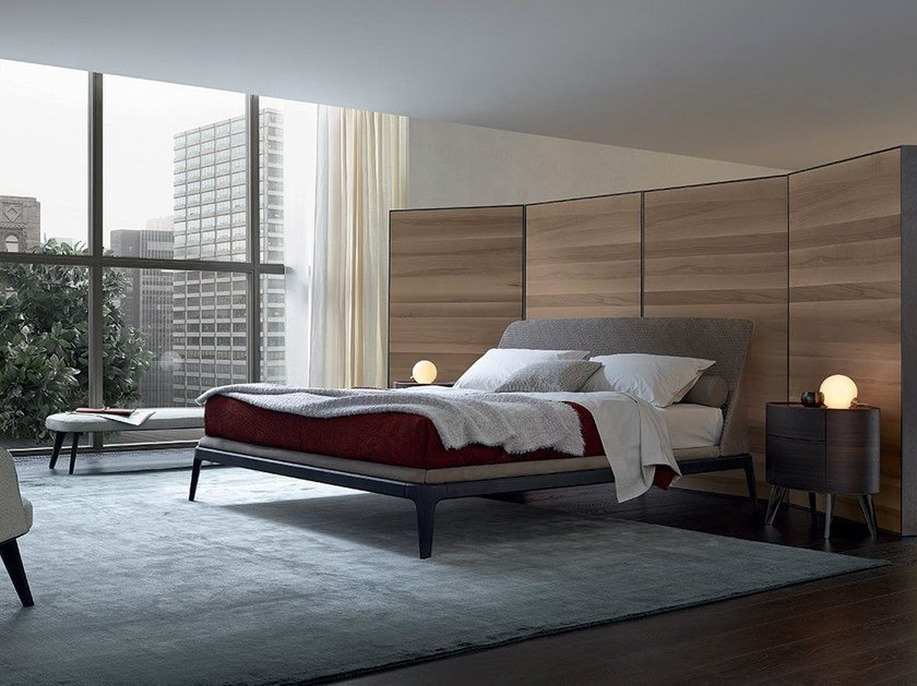 Fabric double bed with upholstered headboard KELLY   Double bed by poliform