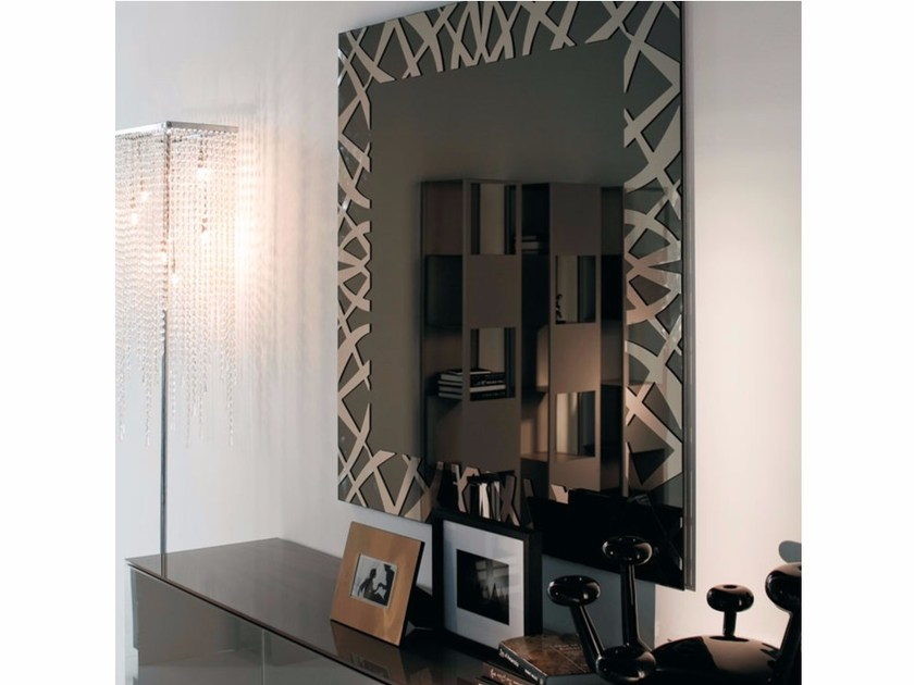Square wall-mounted framed mirror KENYA - Cattelan Italia
