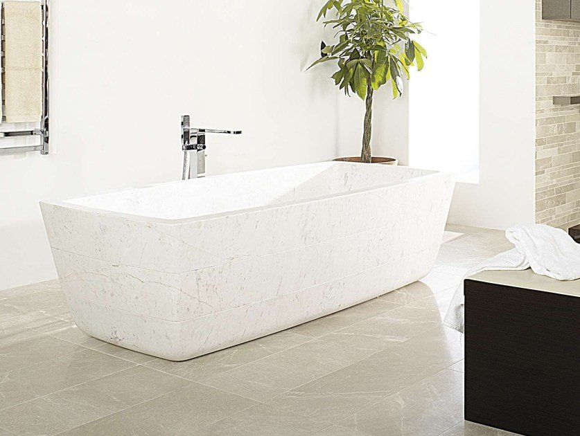 Freestanding rectangular natural stone bathtub KHOA BIOPROT - L'Antic Colonial