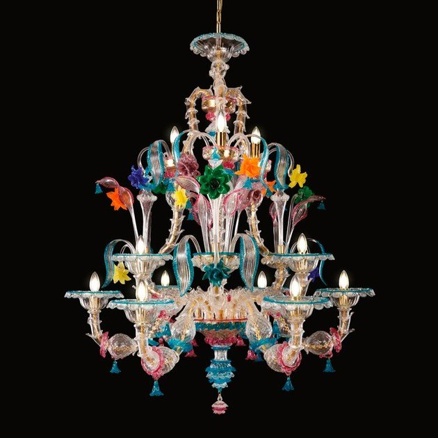 Blown glass chandelier KIA ORA | Murano glass chandelier - MULTIFORME