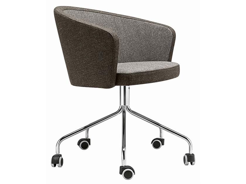 Swivel upholstered easy chair with casters Kicca 021-5R - Metalmobil