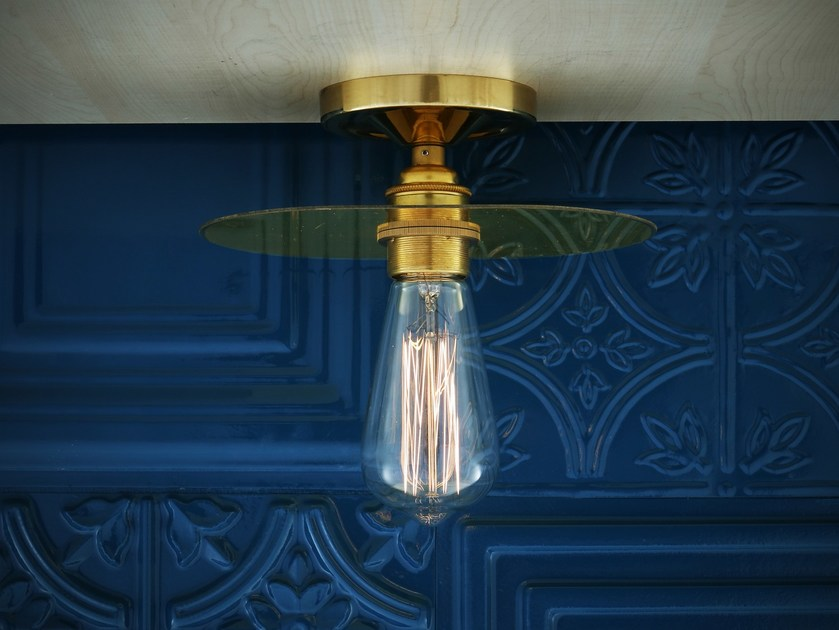 Handmade brass ceiling lamp KIGOMA SEMI FLUSH FITTING - Mullan Lighting