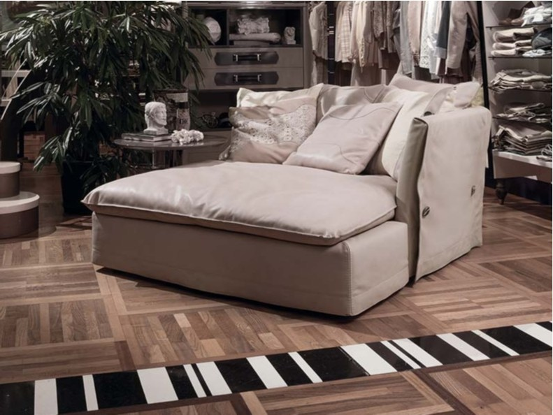 Upholstered leather day bed KIMONO | Day bed - FRIGERIO POLTRONE E DIVANI