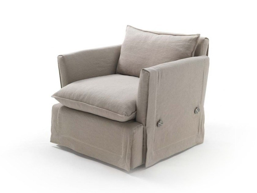 Fabric armchair with removable cover with armrests KIMONO JUNIOR | Armchair by Frigerio Salotti
