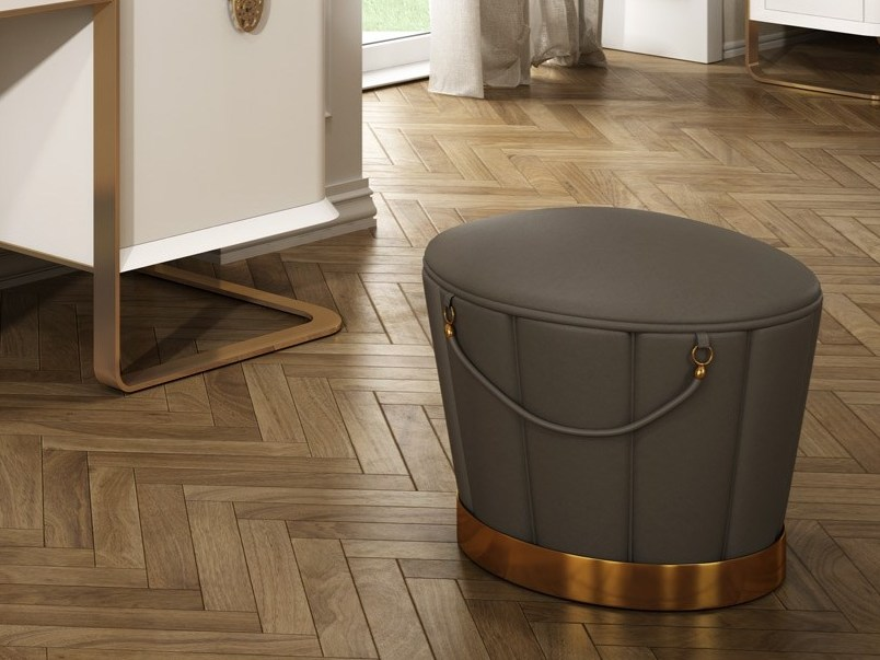 Upholstered round leather pouf KLASS   Pouf by Muebles Canella