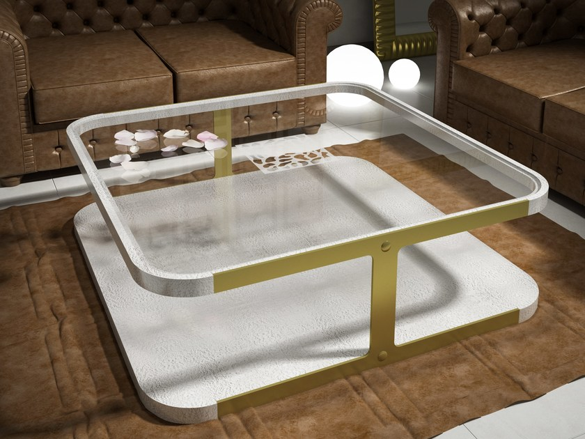 Low square wood and glass coffee table KLASS | Wood and glass coffee table by Muebles Canella