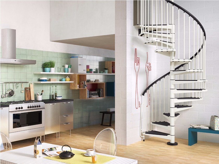 Steel Spiral staircase KLIO by Fontanot Spa