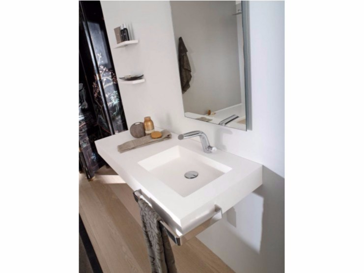 Rectangular Krion® washbasin with integrated countertop KOLE | Washbasin with integrated countertop - Systempool
