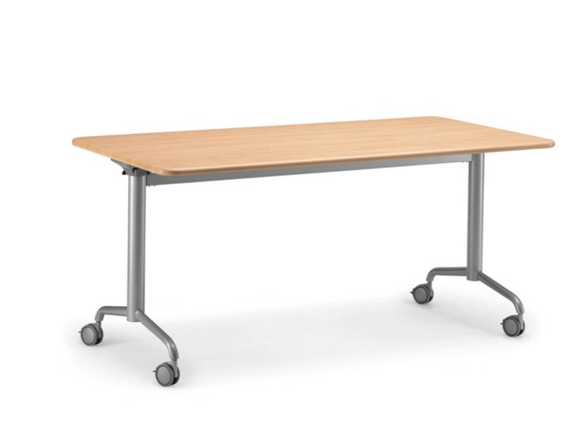 Stackable folding MDF bench desk with casters KOMBY 934 W by TALIN