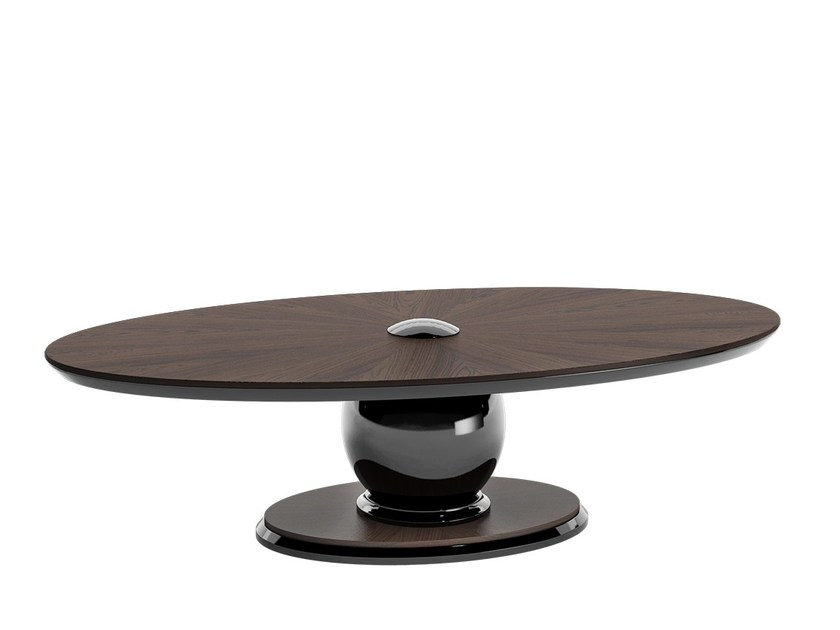 Low oval wooden coffee table KOVAL by Capital Collection