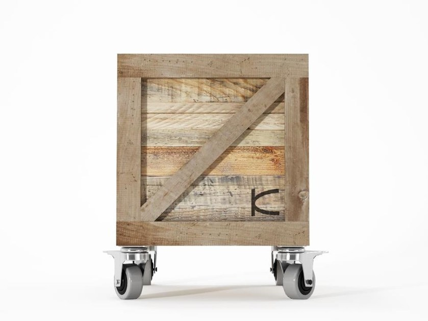 Square reclaimed wood bedside table with casters KRATE | Bedside table - KARPENTER