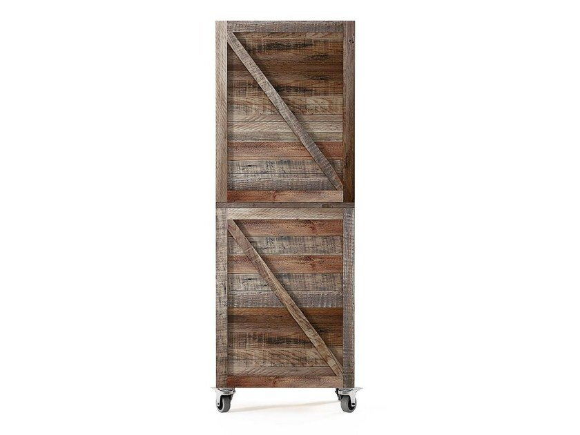 Open reclaimed wood bookcase with casters KRATE | Bookcase - KARPENTER