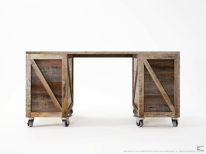 Rectangular reclaimed wood office desk with shelves KRATE | Office desk by KARPENTER