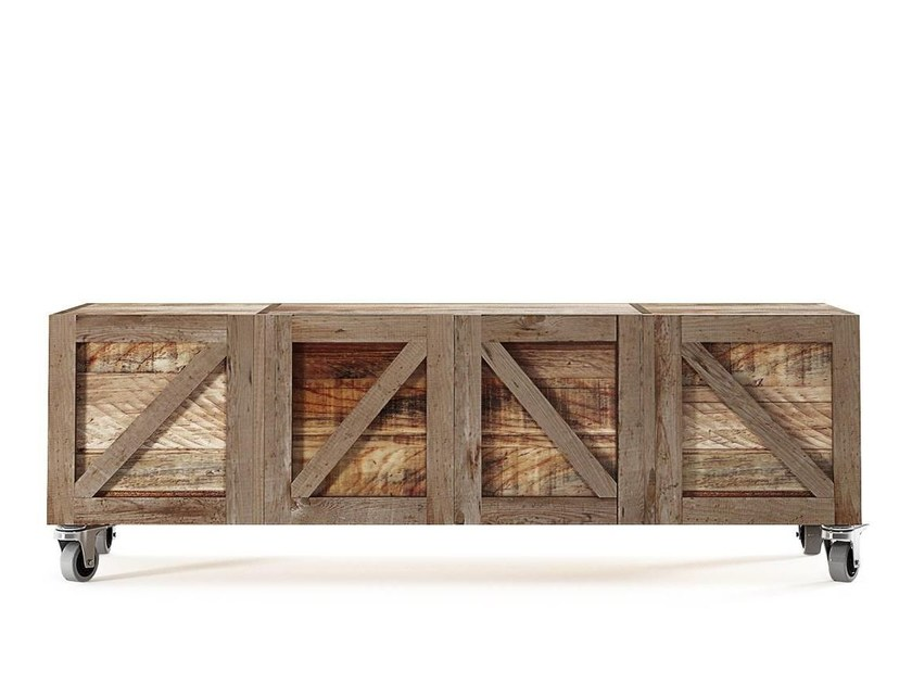 Low reclaimed wood TV cabinet with casters KRATE | TV cabinet - KARPENTER