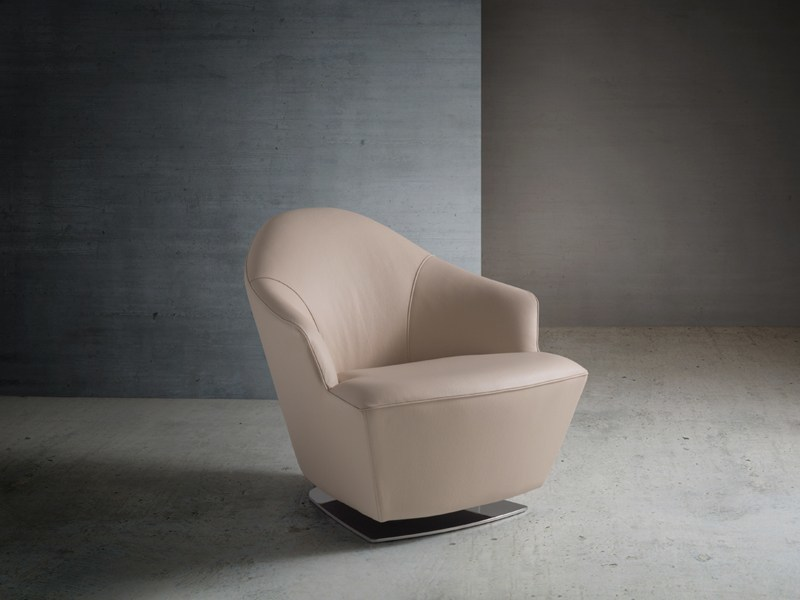 Swivel upholstered leather armchair with armrests KRIS - Divanidea