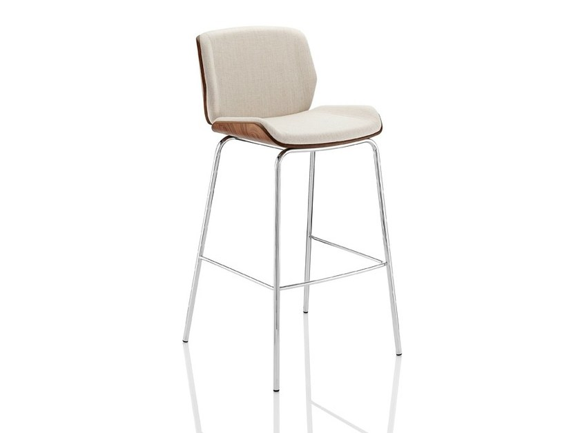 Upholstered counter stool with footrest KRUZE | Chair with footrest - Boss Design